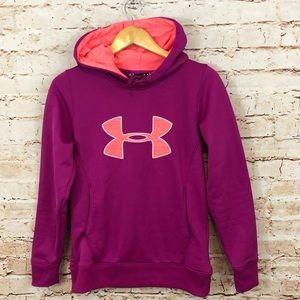Under Armour Big Logo Hoodie small cold gear pink